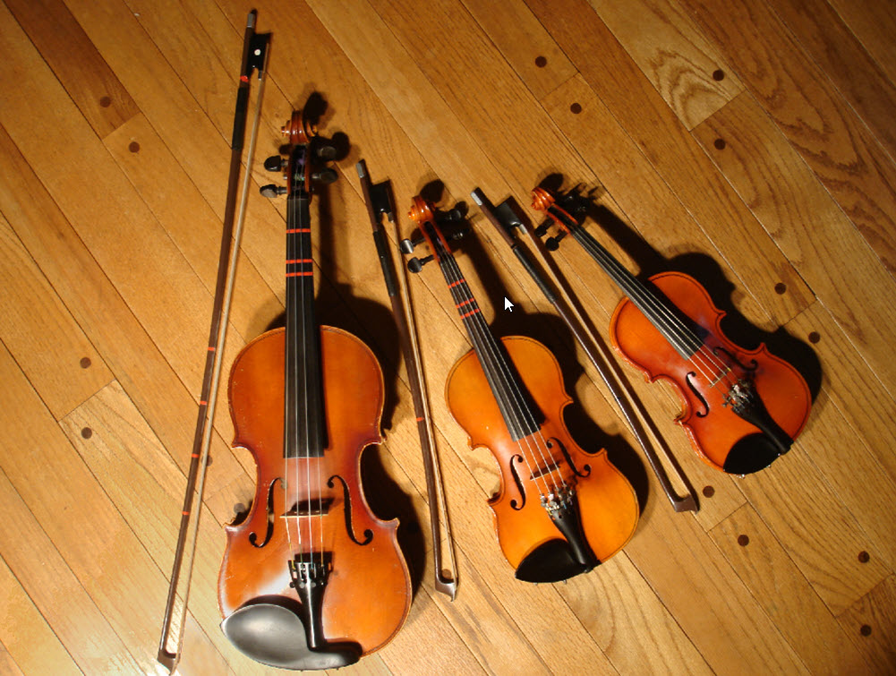 violins laid on floor